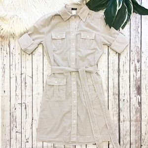 J. CREW gingham button down shirt dress size 2